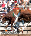 "(7/30/2004, Cheyenne, WY)  The rodeo at Cheyenne, Wyoming's Frontier Days is dubbed ""Out of..."