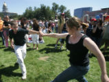 RMN0295 - Air Force Academy cadet Sarah Alford (cq), right, of Denver, swing dances with fellow...