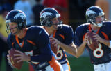 (DOVE VALLEY, Co., SHOT 7/30/2004) Denver Broncos' quarterbacks (left to right) Danny Kanell...