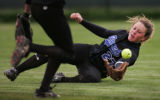 (JPM273) - No. 8-ranked Highlands Ranch's Melisa Ryba, #27, misses a fly ball hit by No. 6-ranked...
