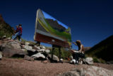 Artist Phillip Merillat (cq) works on a painting of the Maroon Bells Tuesday afternoon September...