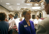 Colorado Lieutenant Governor candidate Janet Rowland (R) talks with guests after Rowland and...
