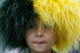 DLM00624   Colorado State University fan Decker Clark, 4, of Centennial peers out from under a...