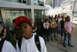 9/11 story.   Terrell Byrd, (cq),  15, of Manhattan, visits the site of the ground zero in...