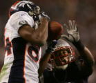 The Denver Broncos Javon Walker pulls down a 32-yard touchdown pass againt the New England...