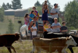 Cheyenne, Wy., photo taken July 18,2004- Townspeople of Cheyenne line the eastern frontage road...