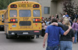 (JPM417) -  Students from Platte Canyon High School meet their parents who gathered at Deer Creek...