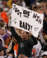 (RMN904) - Oakland Raiders fan shows a sign reflecting the state of the 0-5 Raiders  in the second...