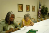 (Denver, Colo-, JULY 20, 2004)  Kim Cohen, left, a Kucinich delegate who will attend the...