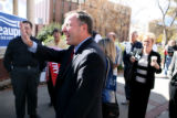 Colorado Senator Doug Lamborn, Republican candidate for the 5th Congressional District waves at...