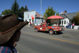 Driving his notorious mushroom mobile, San Miguel County Commissioner Art Goodtimes, cq, waves to...