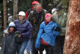 Three girls, all age nine, and 48 year-old Stephanie Sakson walk out the Lost Man trailhead on...