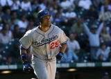 Dodgers James Loney heads from home in the top of the 6th after hitting his second home run...