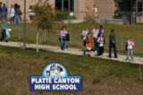 MJM1088 Students and parents leave Platte Canyon High School in Bailey, Co. Wednesday morning...