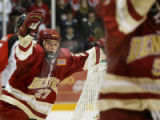 University of Denver Pioneer #27 Patrick Mullen celebrates after a second period goal is scored...
