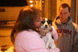 (DLM4208) - Vonda Lundstrom, 44, and her son, Mark Lundstrom,16, are reunited with their dog Daisy...