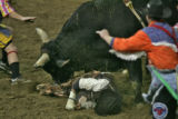 Action stops at the National Western Stock Show Tuesday evening Jan. 16, 2007 as Myron Duarte, a...