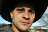 Myron Duarte (cq) now wears two black eyes along with his cowboy hat Thursday January 18,2007...