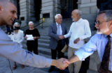 (DENVER, COLO.- 8/3/04)  On the west steps of the State Capitol, Catholic leaders joined together ...