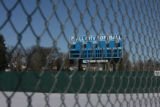 The scoreboard at the All City Softball Field, South High School,  Thursday afternoon January 4,...