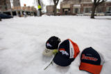 (DLM4151) - Tributes left for slain Denver Bronco Darrent Williams at makeshift memorials at...