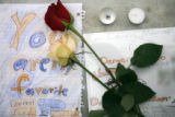 (DLM4143) - Tributes left for slain Denver Bronco Darrent Williams at makeshift memorials at...
