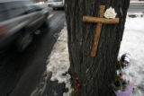 (DLM4149) - Tributes left for slain Denver Bronco Darrent Williams at makeshift memorials at...