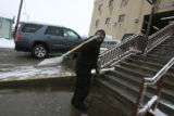 John Romero, (cq), works 6am-6pm and this day he shoveled the steps, finished, and as the snow...