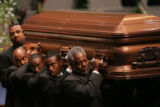 [JPM0244] Pallbearers carry the casket from the Great Commission Baptist Church in Fort Worth,...
