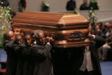 [JPM0241] Pallbearers carry the casket from the Great Commission Baptist Church in Fort Worth,...