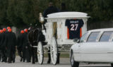 [JPM0726] The funeral cortege for Denver Broncos Darrent Williams with his casket in a horse-drawn...