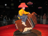 Professional rodeo clown Caine Hager shows the celebrity bull riders how it's done. (DAHLIA JEAN...