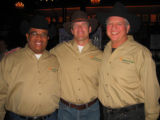 "Bull riders, from left, ""Slick Willie"" Shepherd, John ""Rough and Ready"" Butler and Councilman..."