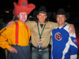 Professional rodeo clown Caine Hager, emcee Josh Davies and PBR bull rider Dusty Lapp. (DAHLIA...