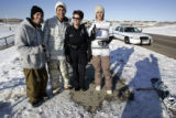 Snow boarders (L-R) Jeff Cormack (cq) ,J.J. Thomas, Longmont officer Sandi Taylor and Alex Cutler...