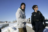 Jeff Cormack (cq) ,27, gives a thumbs up to being shut down by Longmont officer Sandi Taylor (cq)...