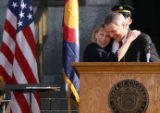 MJM425 Lieutenant Governor, Barbara O'Brien is embrace by Colorado Governor, Bill Ritter during...