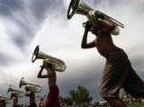 (Englewood, Colo., Aug 5, 2004) The Blue Knights Drum and Bugle Corps rehearses at Englewood High...