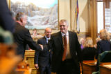 (DLM3201) -  Colorado Govenor Bill Ritter shakes hands with Ray Rose (R-Montrose) after delivering...