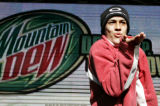 Alex Quinonez (cq) 16, from Hotchkiss, CO blows a kiss during a Mountain Dew Drink it Up and Throw...
