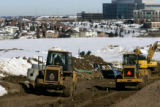 Crews begin breaking ground for new roads near the Lone Tree Recreation Center in Lone Tree, Colo....
