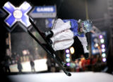 Mirjam Jaeger from Zurich, Switzerland competes in the Women's Skiing Superpipe finals at the ESPN...