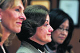 Lietanent Gov. Barbara O'Brien, Sen. Suzanne Williams (D- Aurora) and Sen. Paula Sandoval (D-...