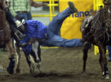 Chris Young leaps off his horse to tackel a steer in the Bull Doggin' event Monday evening Jan....