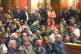 The Old Supreme Court Chambers in the State Capitol was standing room only  during House Bill 1072...