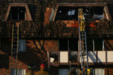 (DLM8371) -  Firefighters examine each apartment as they do their secondary search of the Castle...