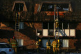 (DLM8372) -  Firefighters examine each apartment as they do their secondary search of the Castle...
