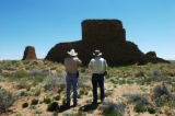 (DENVER, CO. 5/5/04) Larry Benson and Howard Tayor check out a remote site of a Chacoan Great...