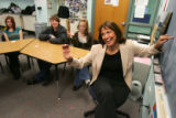 Susan Elliott (cq), riight, teaches deaf students at Highlands Ranch High School in Highlands...