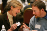 Colorado First Lady Jeannie Ritter talks with Jarrod Hindman (Cq), a program director for the...